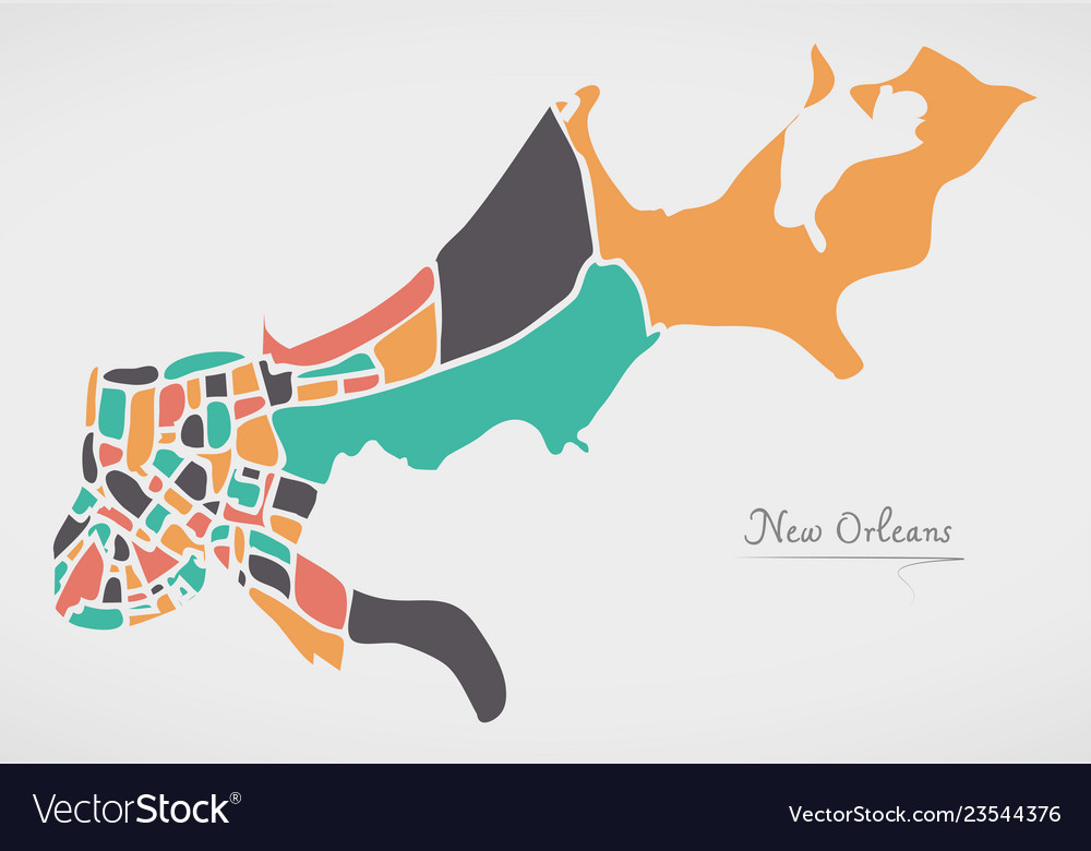 Louisiana New Orleans Map.New Orleans Louisiana Map With Neighborhoods And Vector Image