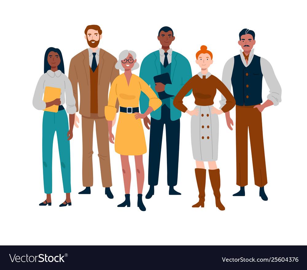 Portrait business team standing together