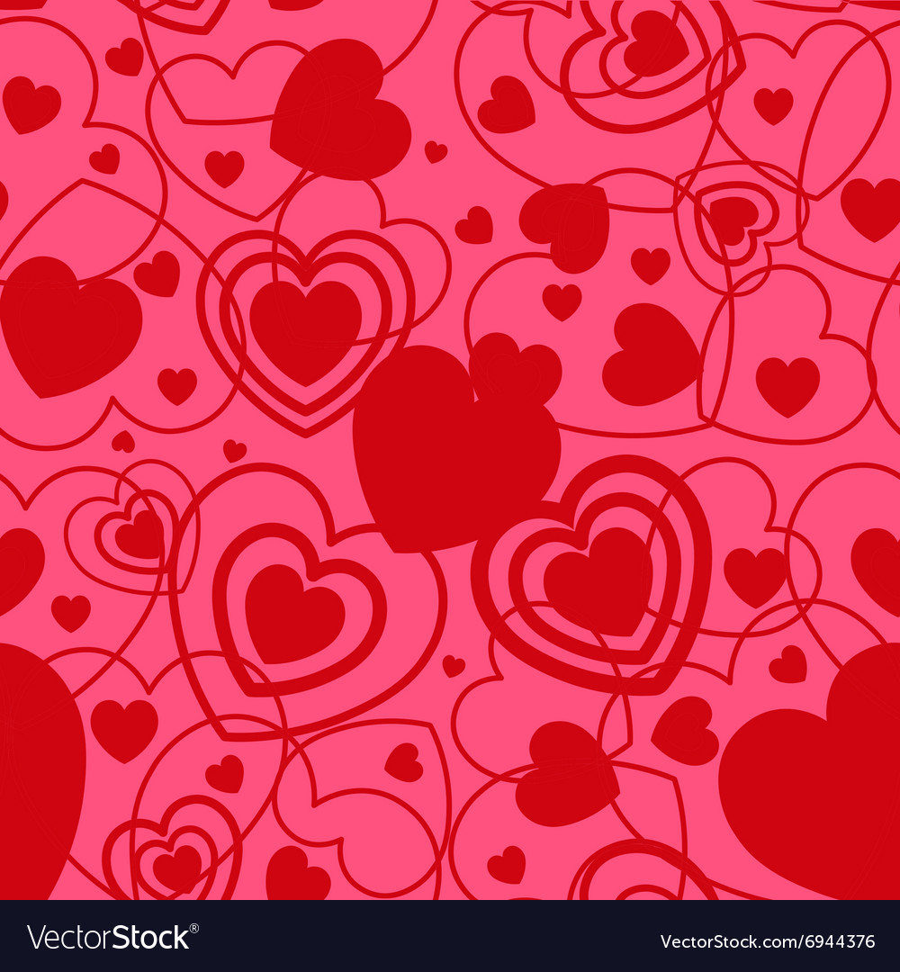 Red Heart shape seamless background Template