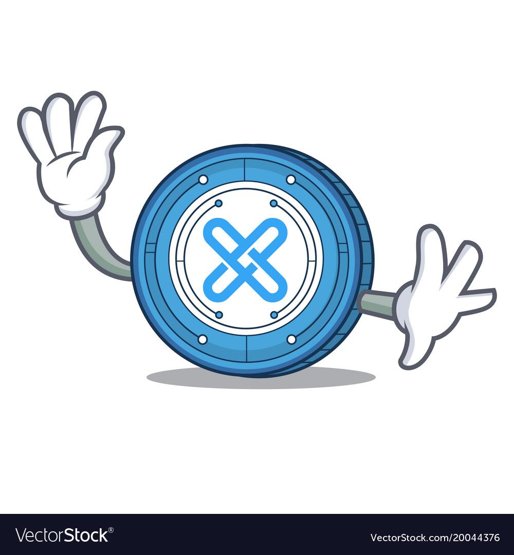 Waving gxshares coin character cartoon vector image