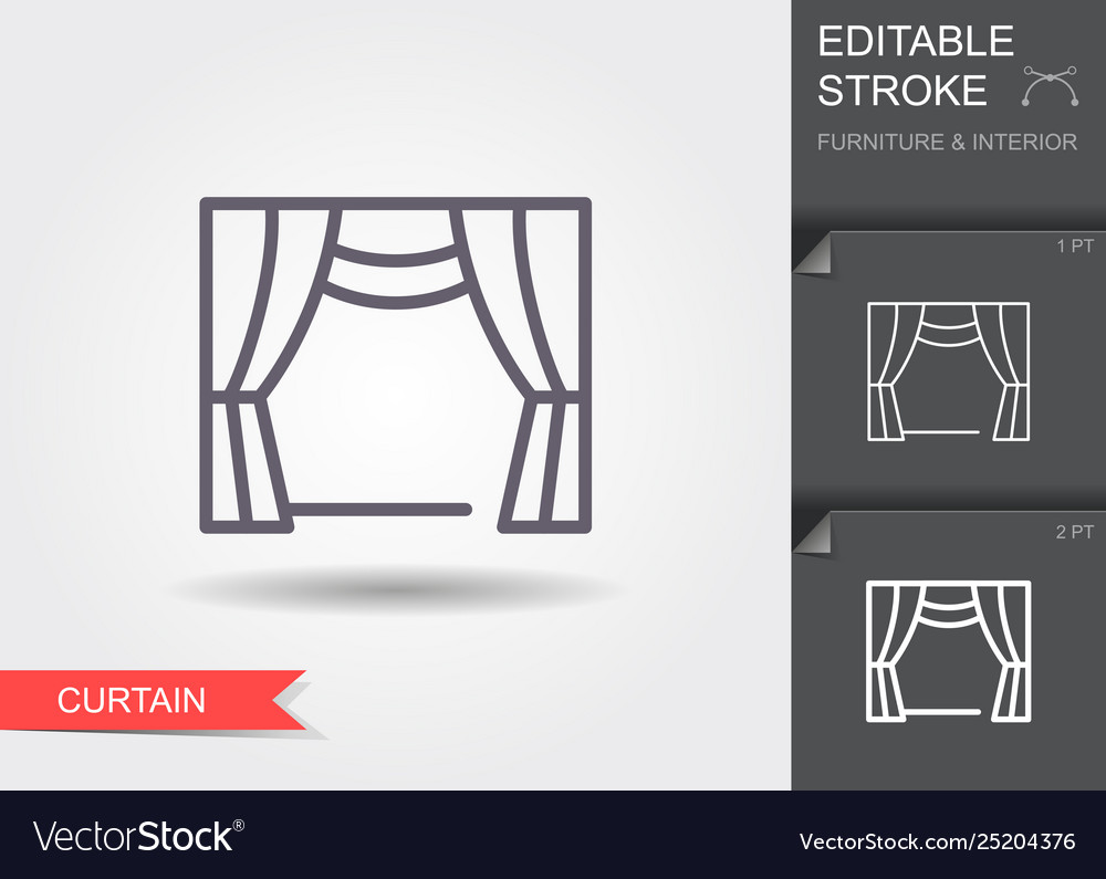 Window curtains line icon with editable stroke