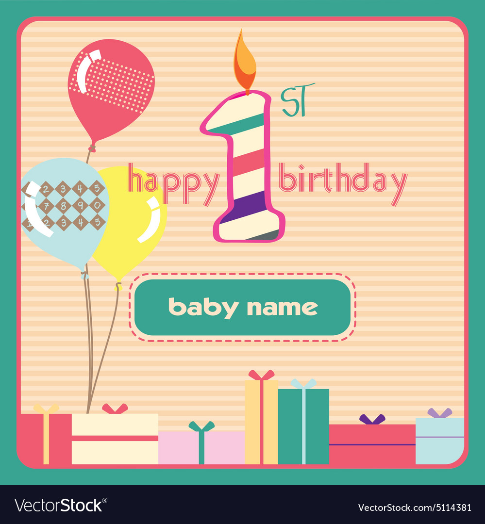 1st birthday Greeting Card Candle