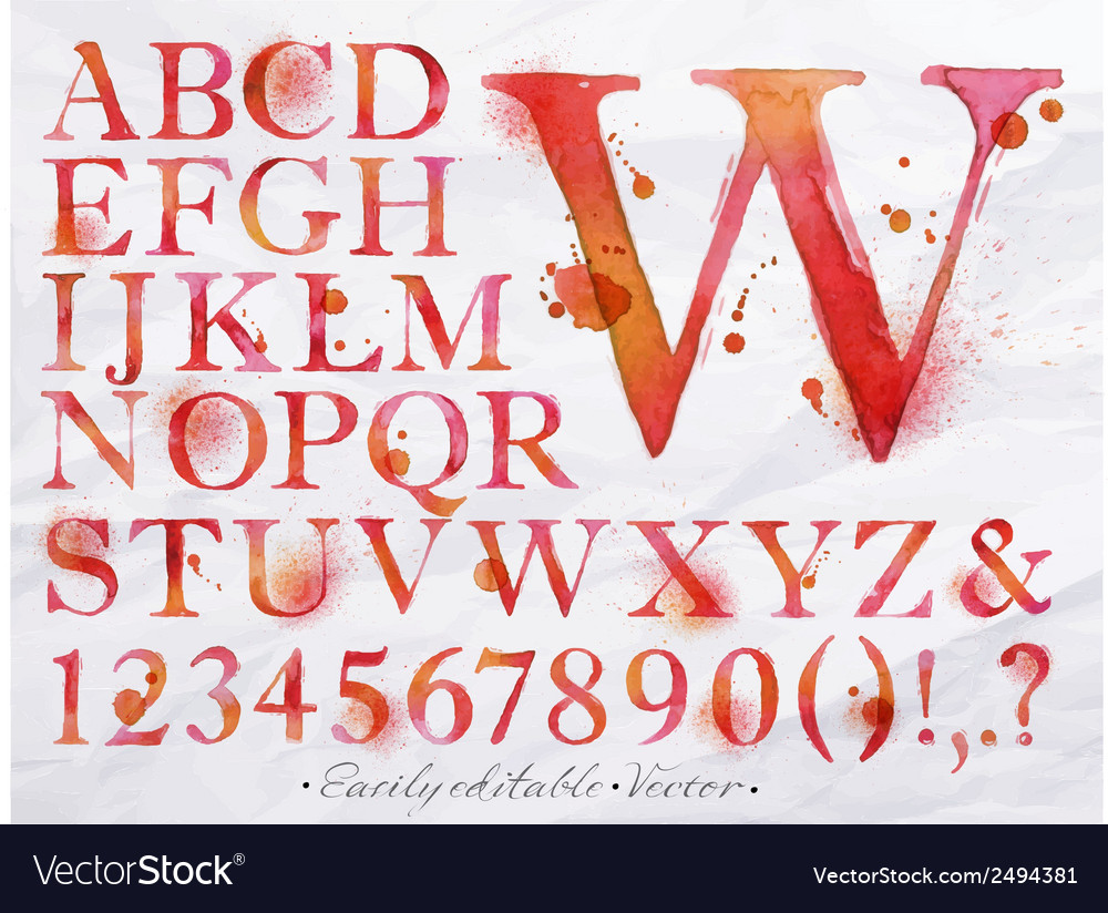 Alphabet watercolor red vector image