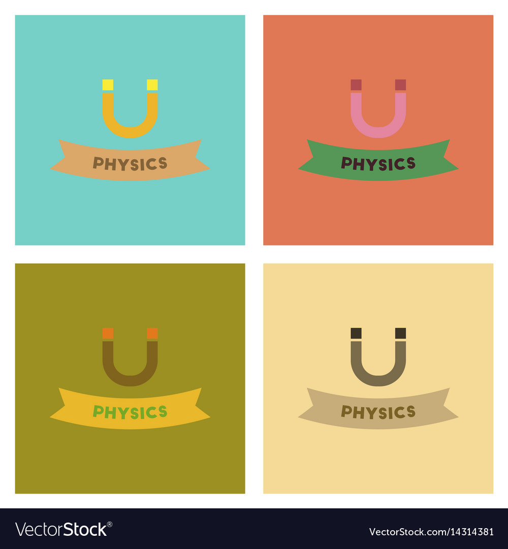 Assembly flat icons physics lesson