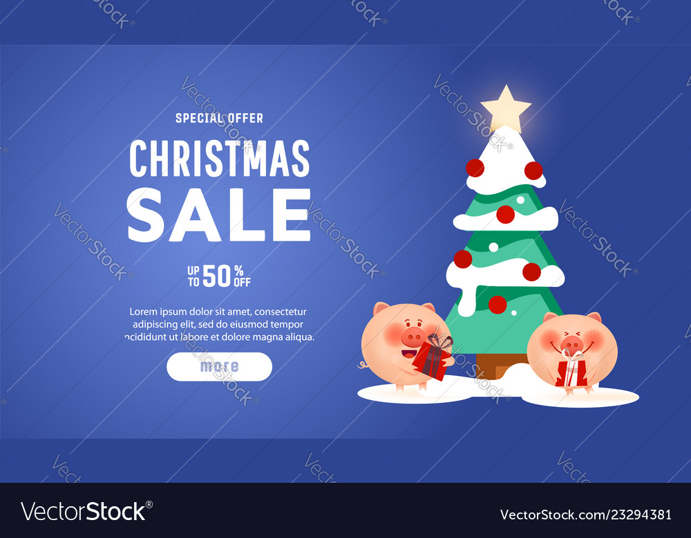 Beautiful christmas poster with tree pigs and