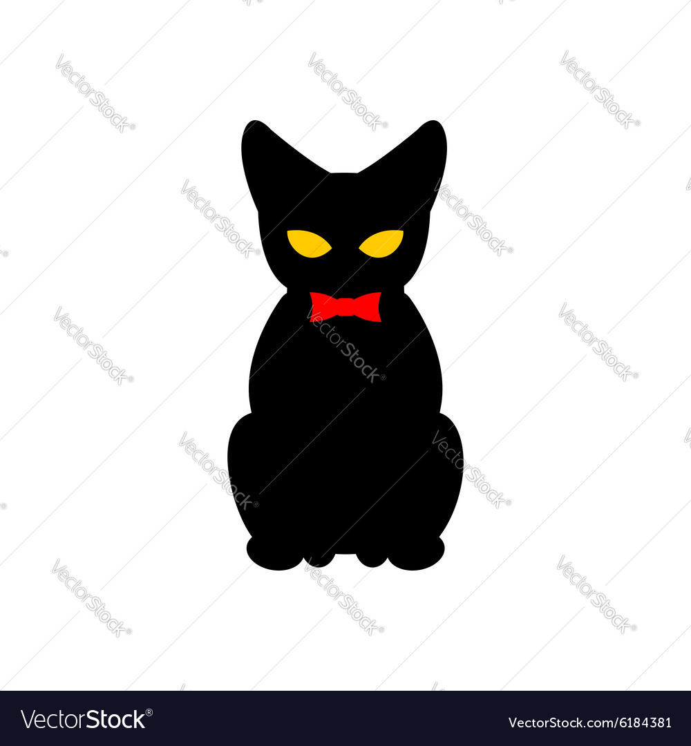 Black cat with red bow tie Silhouette of pet