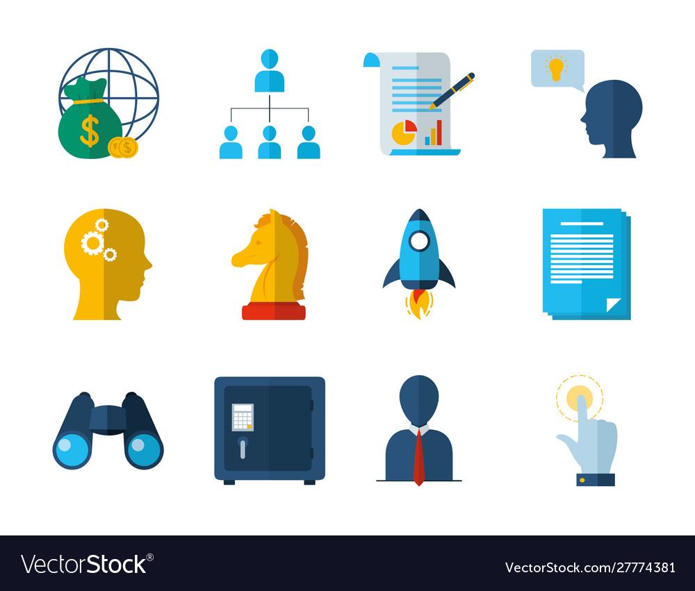 Business work success finance icons set