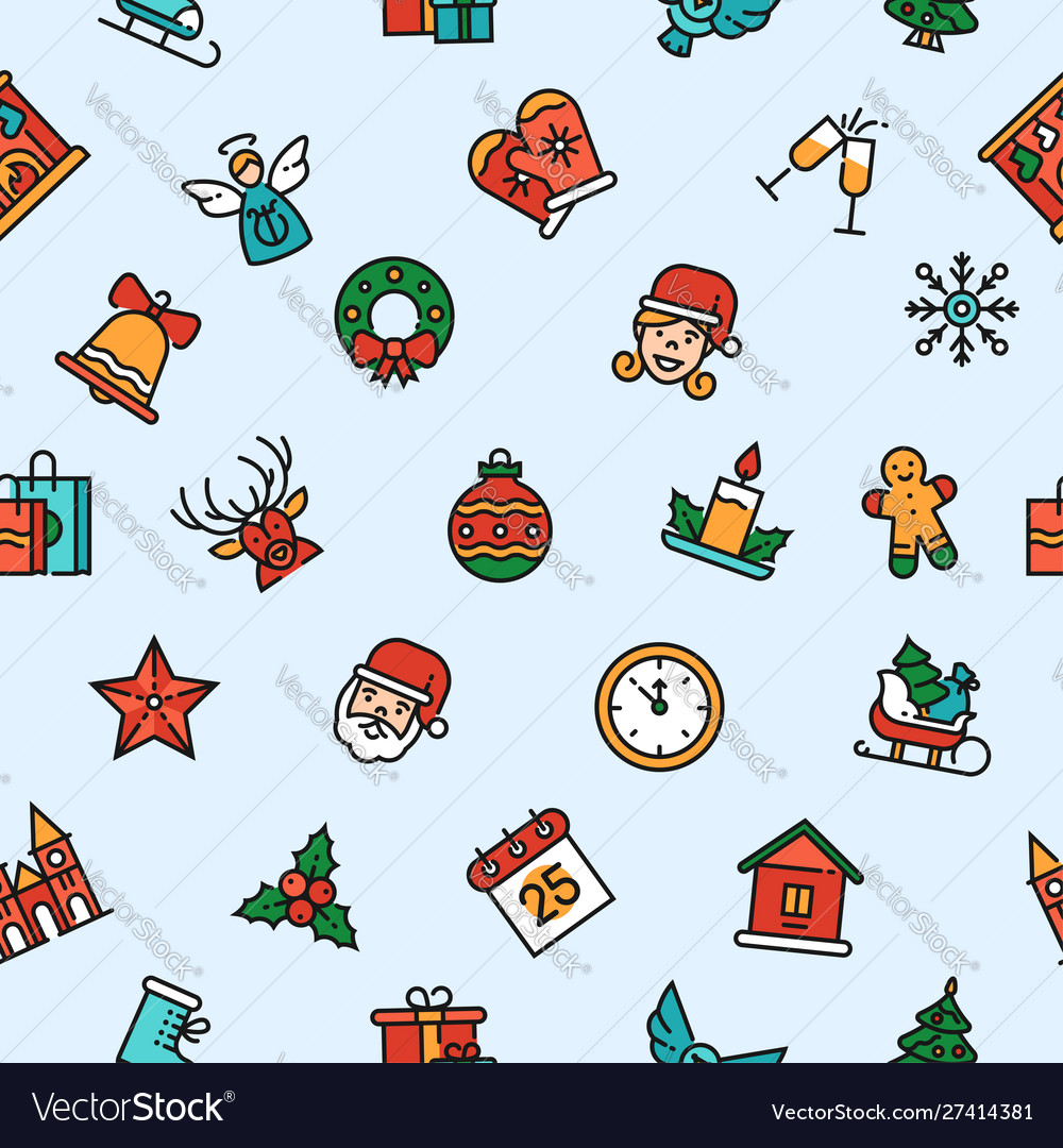 Christmas linear symbols seamless pattern