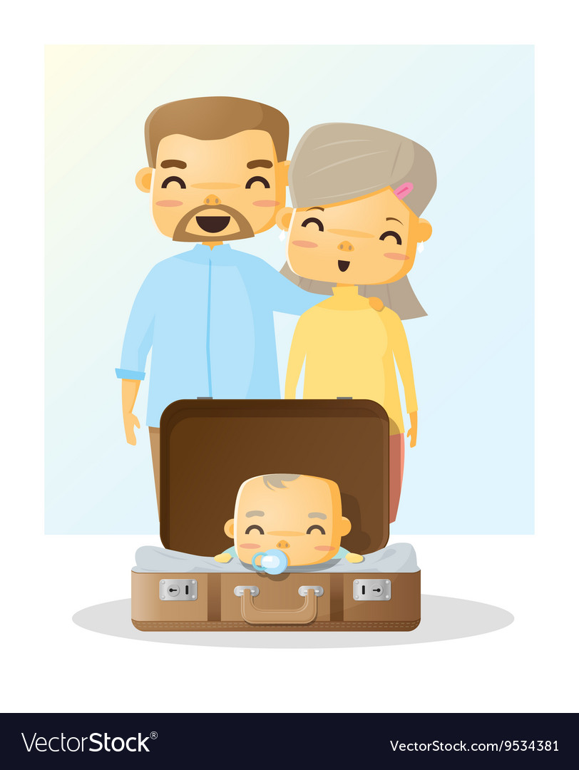 Cute family portrait Happy family background 3 vector image