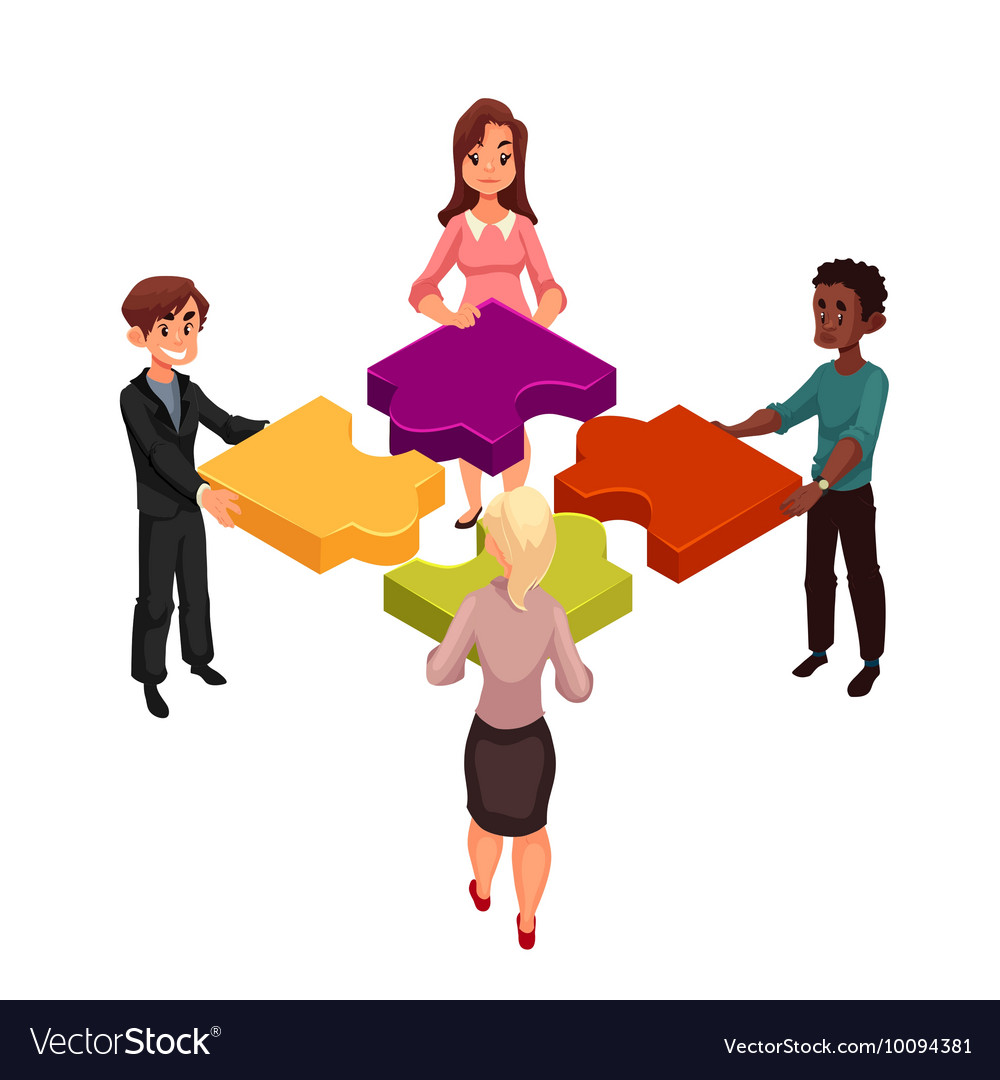 Four people putting jigsaw puzzles together vector image