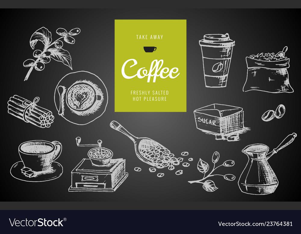 Hand drawn coffee menu design
