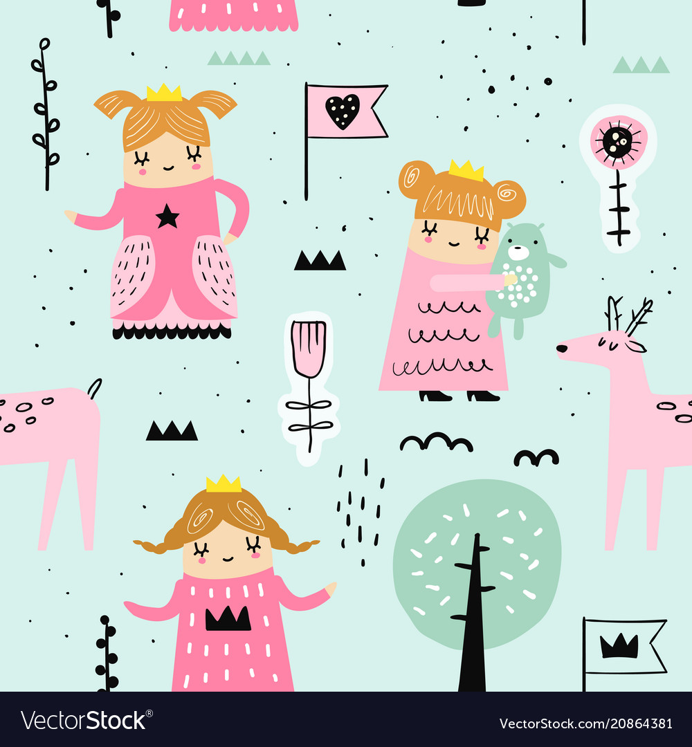 Hand drawn seamless pattern with little princess