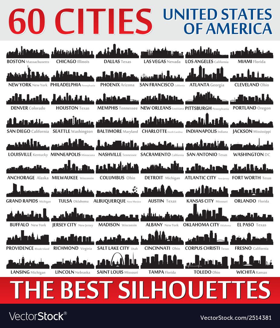 Incredible skyline set 60 city silhouettes of USA