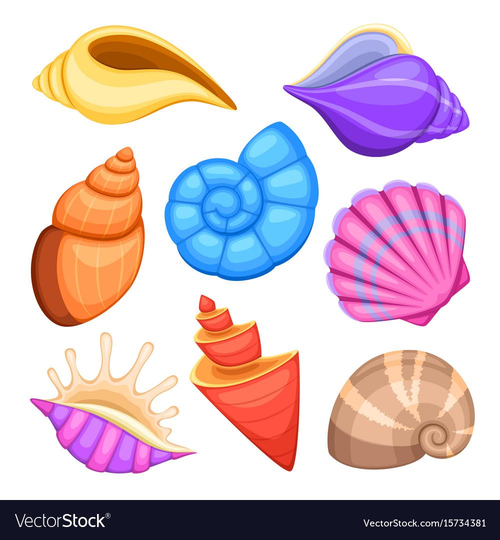 Ocean cockleshells cartoon sea shells