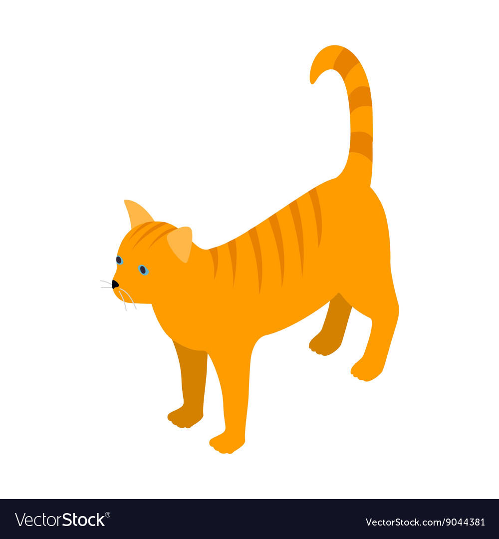 Orange tabby cat icon isometric 3d style vector image