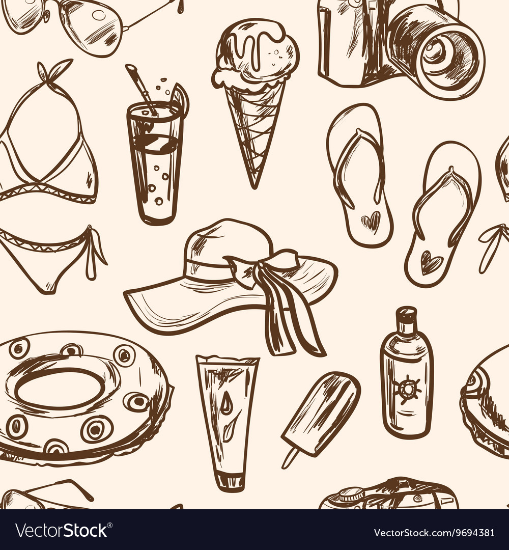 Seamless pattern with summer elements in sketch