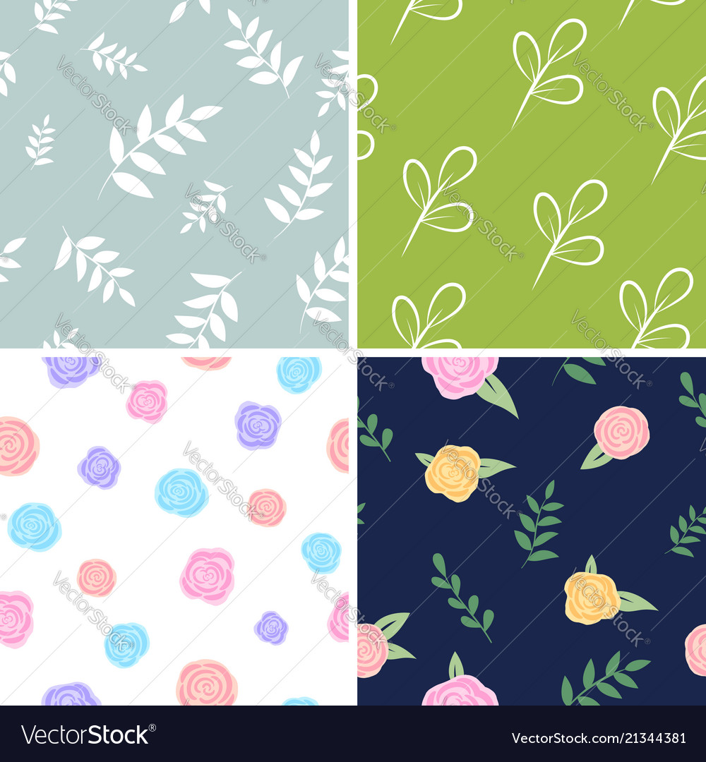 Set of floral patterns backgrounds with flowers