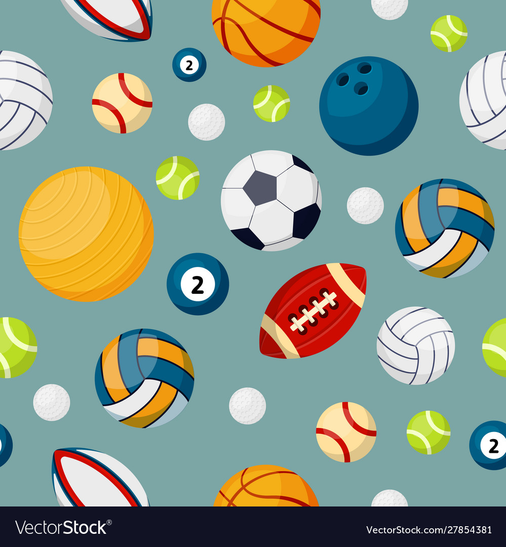 Sport equipment flat colorful seamless