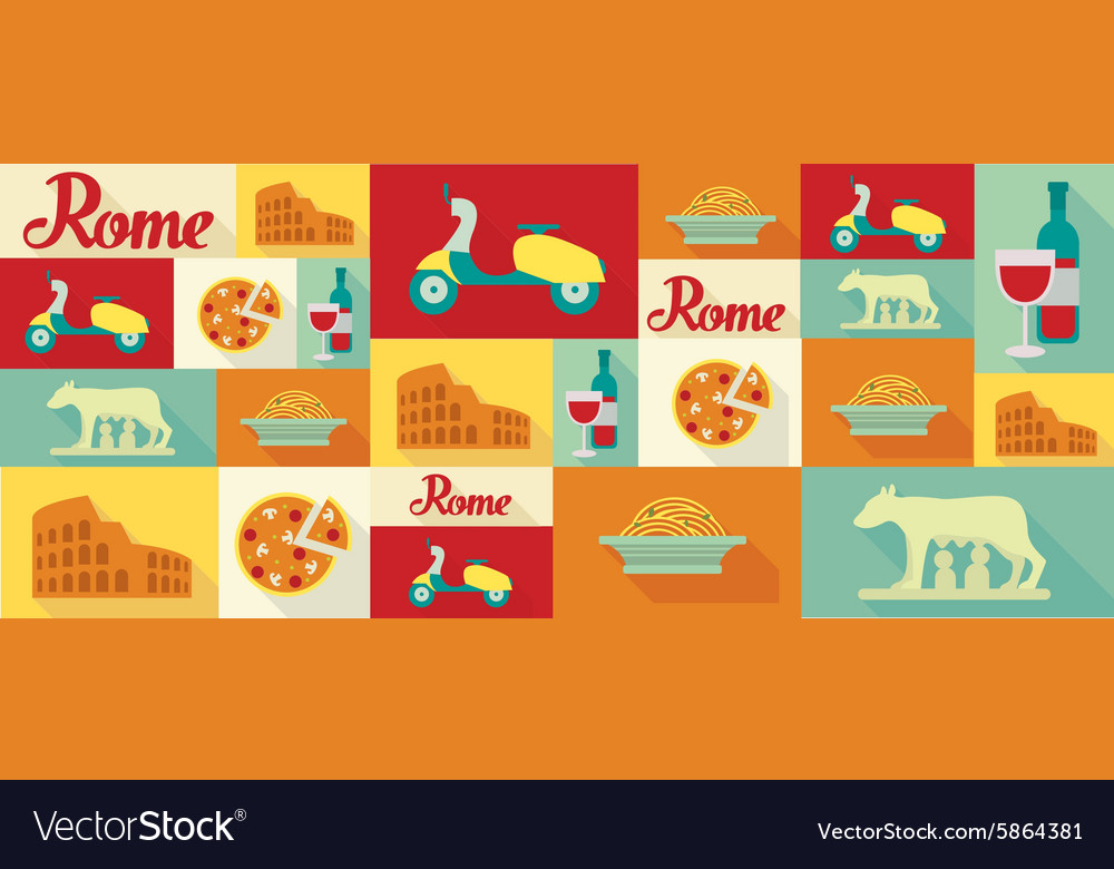 Travel and tourism icons Rome