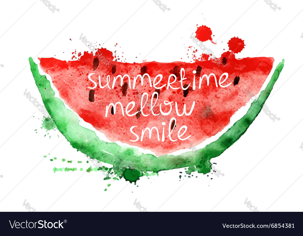 Watercolor with slice of watermelon