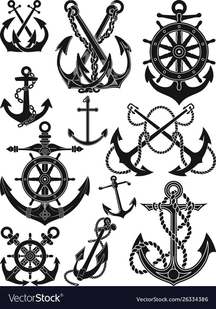 Antique anchor and ship wheel set
