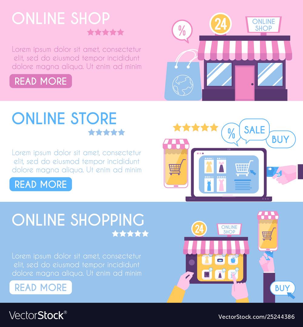 Banner templates set online shopping flat