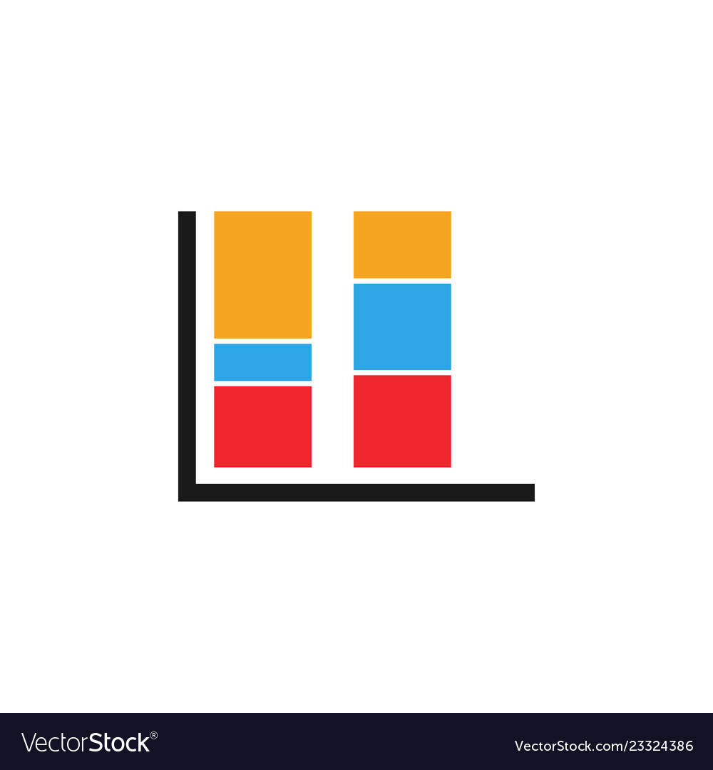 Colorful bar chart graphic icon design template