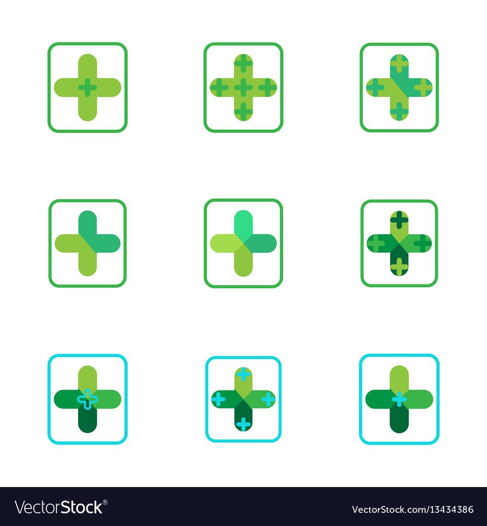 Cross plus medical pharmacy green logo icons
