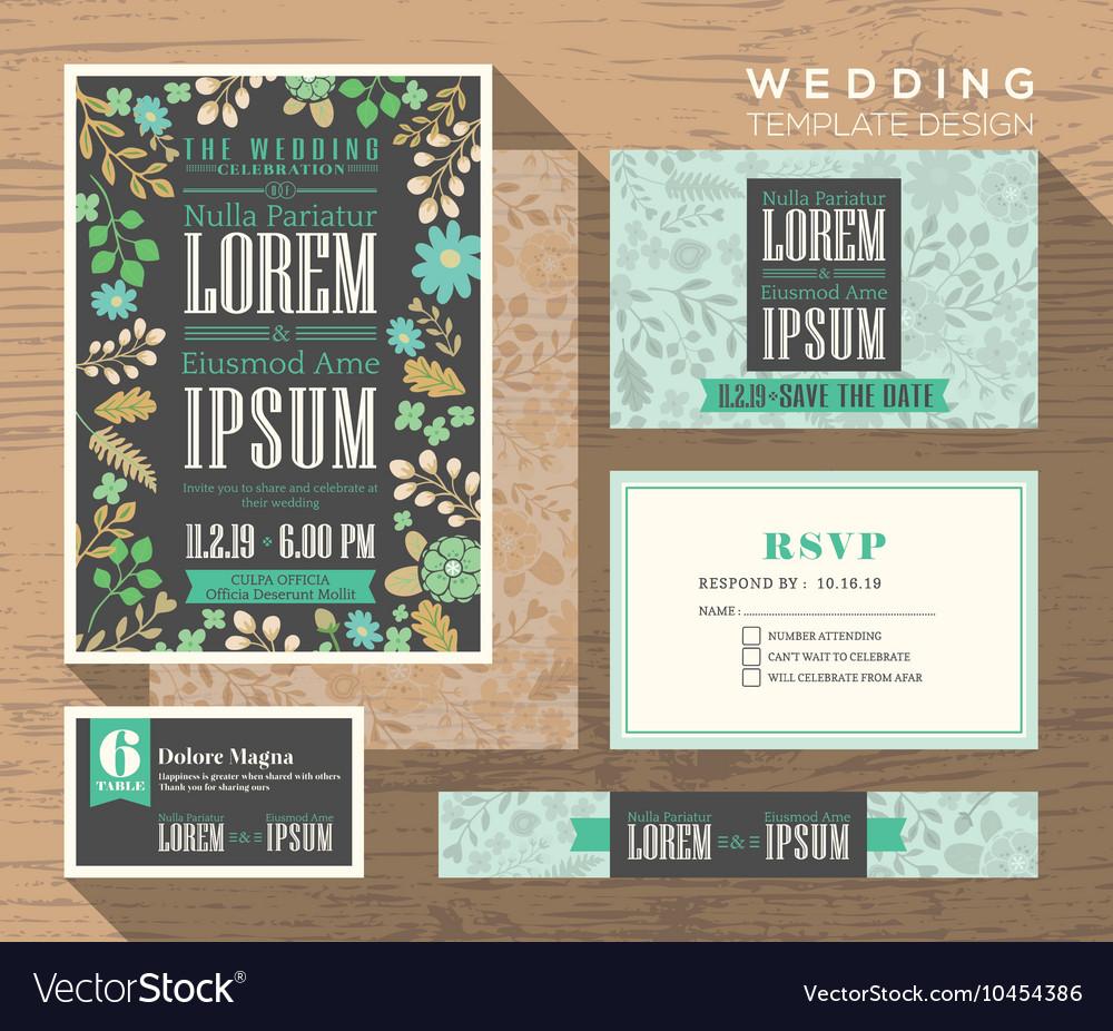 Cute pastel floral pattern wedding invitation