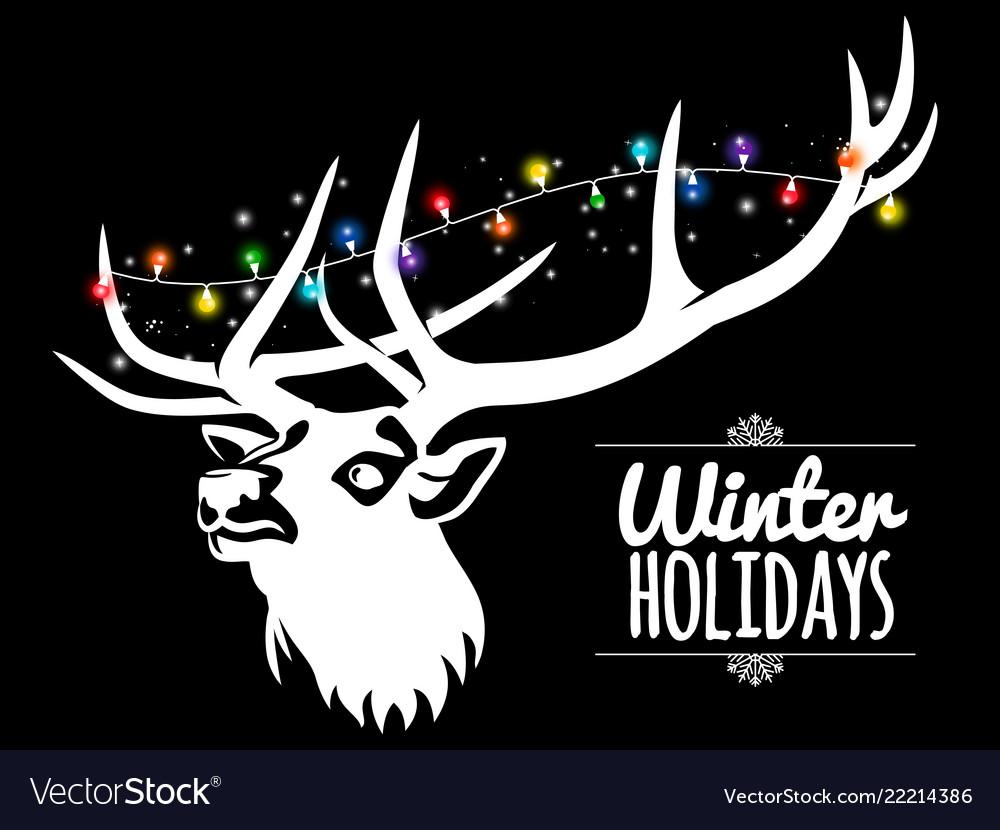 Deer and garland winter background