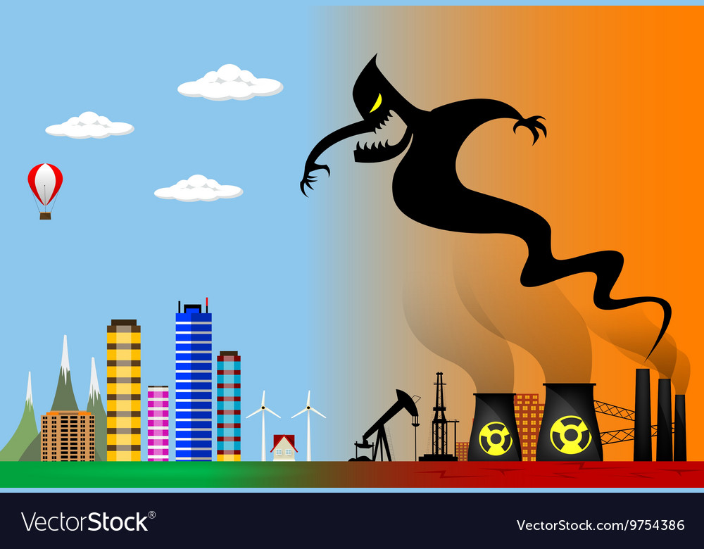 Ecological disaster Industrial problems vector image