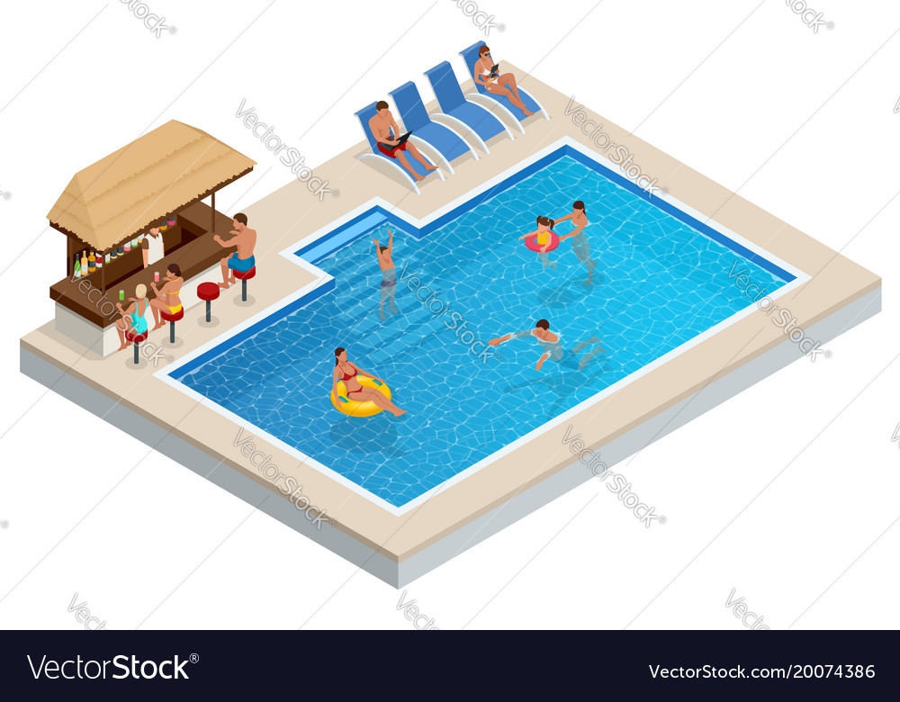Isometric aqua park with bar water pool people