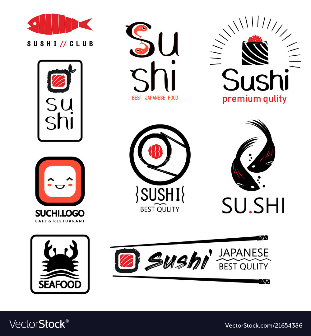 Japanese food labels set with different sushi