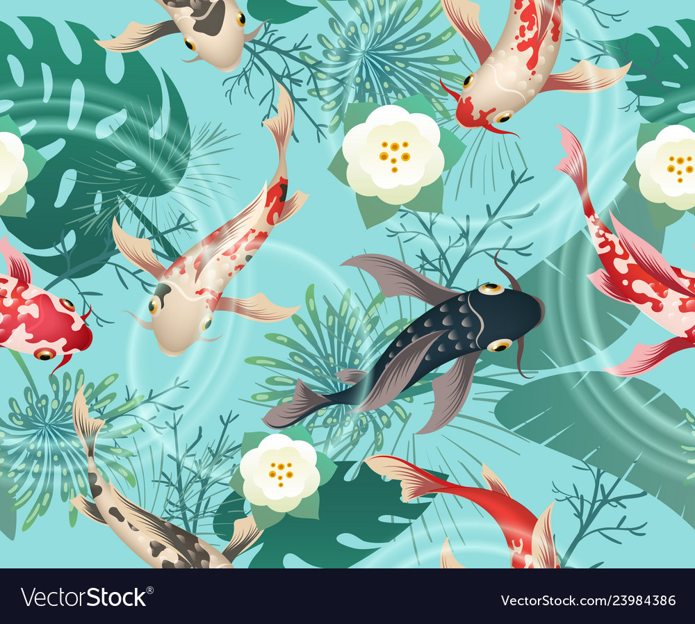 Japanese koi fishes tropical pattern