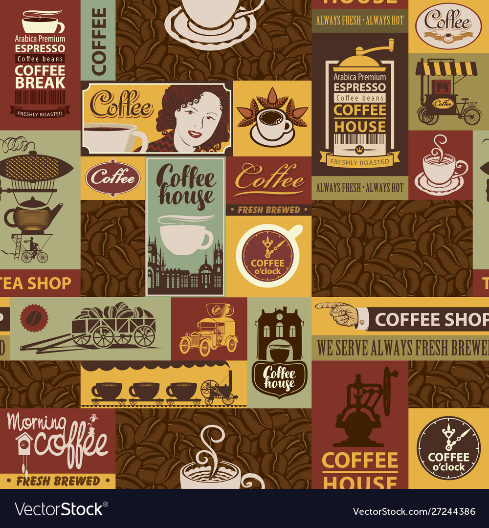 Seamless pattern on theme coffee houses vector