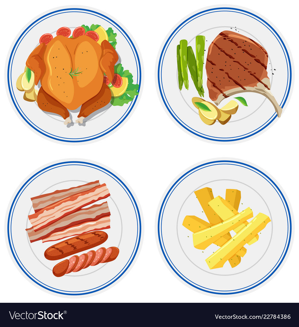 Set Of Food On Plate Royalty Free Vector Image
