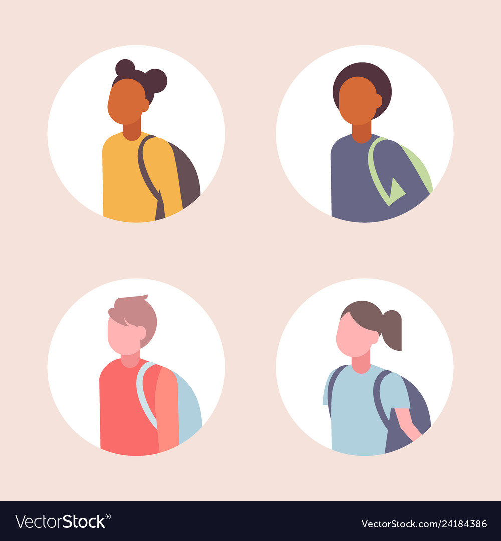 Set women men students avatar casual mix race