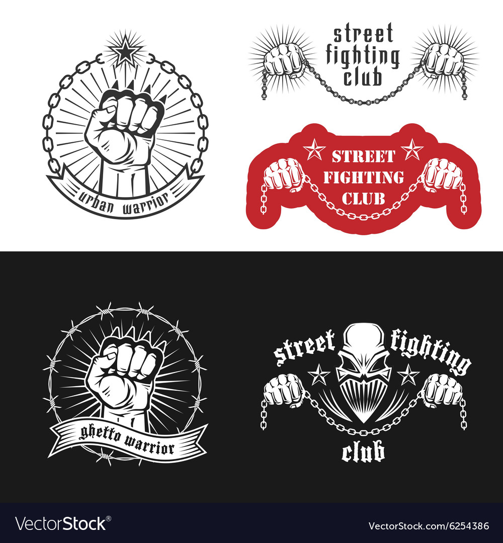 Street Fighting Emblem Royalty Free Vector Image