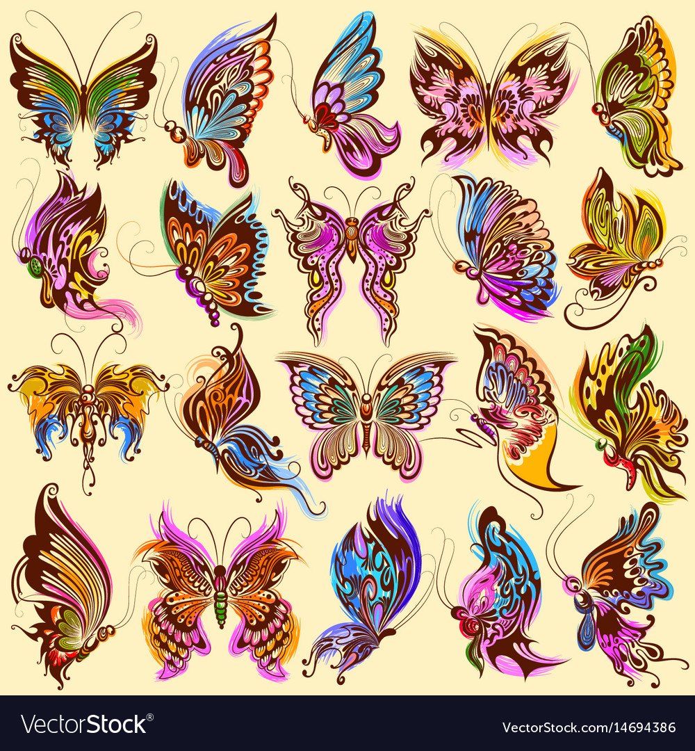Tattoo art design of butterfly collection