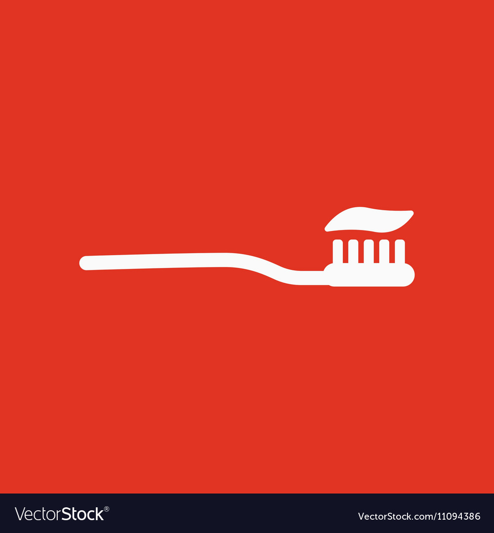 The toothbrush icon toothpaste symbol Flat