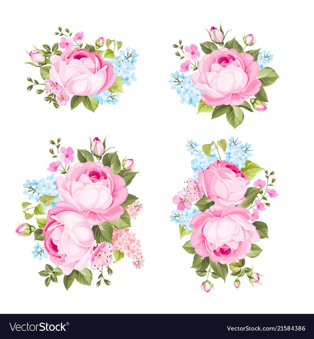 Vintage flowers set overwhite background
