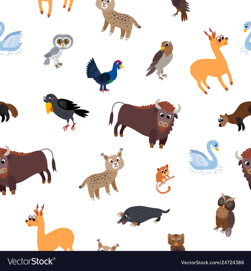 Wild europe animals seamless pattern in flat style
