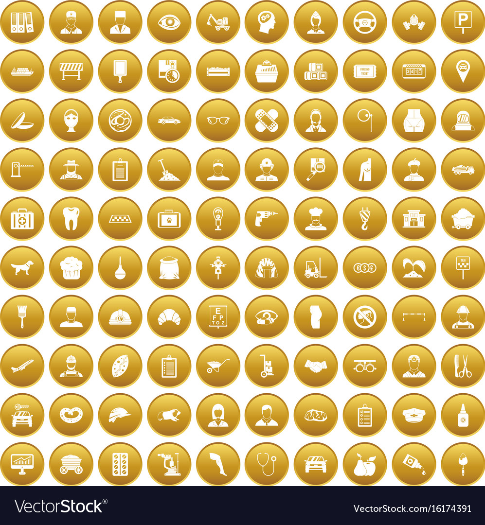 100 favorite work icons set gold vector image