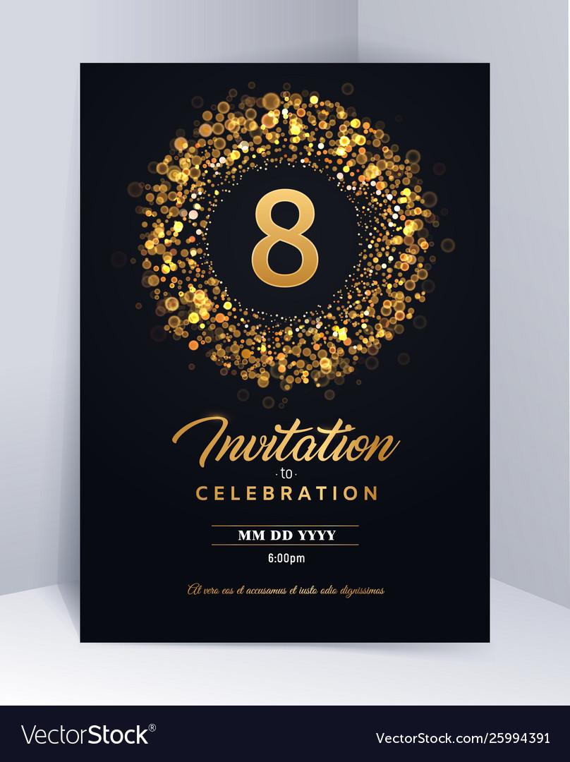 8 Years Anniversary Invitation Card Template