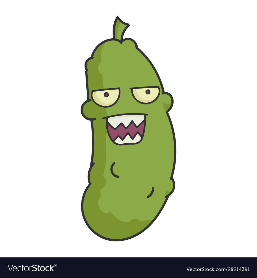 Angry dill pickle cartoon