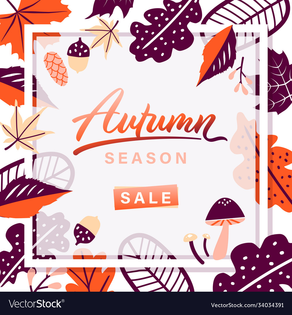 Autumn leaves season sale frame on white