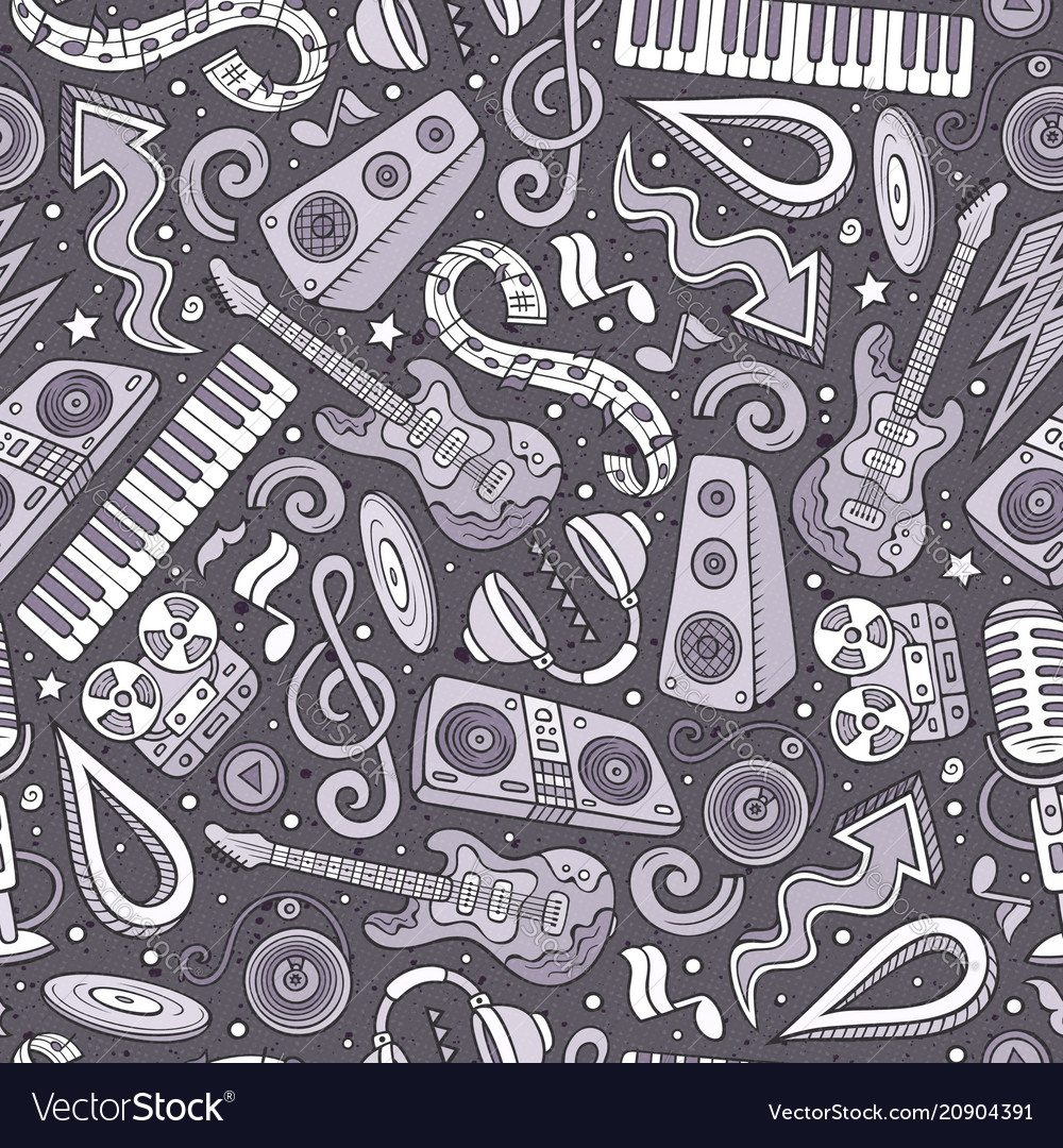 Cartoon hand-drawn disco music seamless pattern