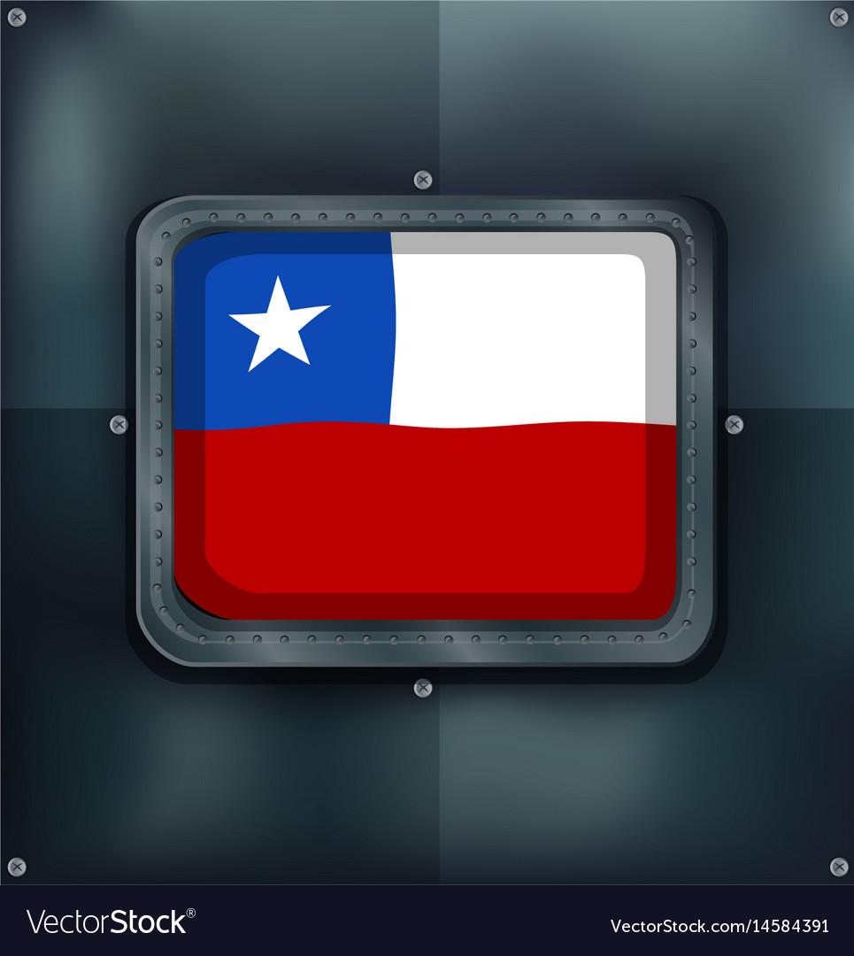Chile flag on metal frame