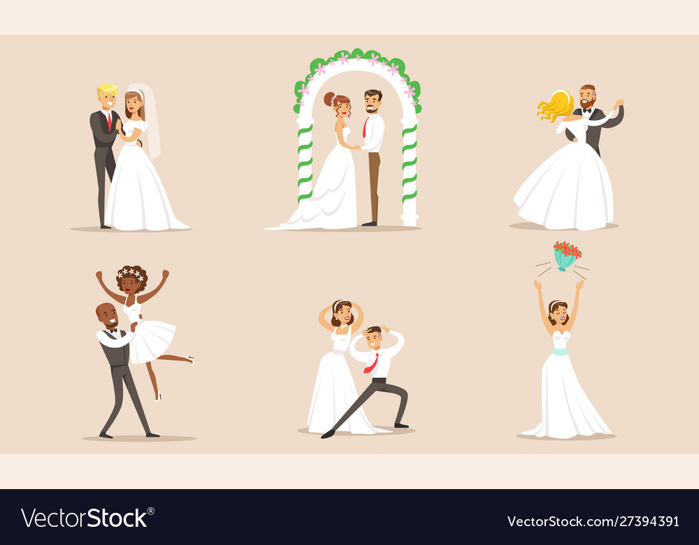 Elegant romantic just married couples in love set