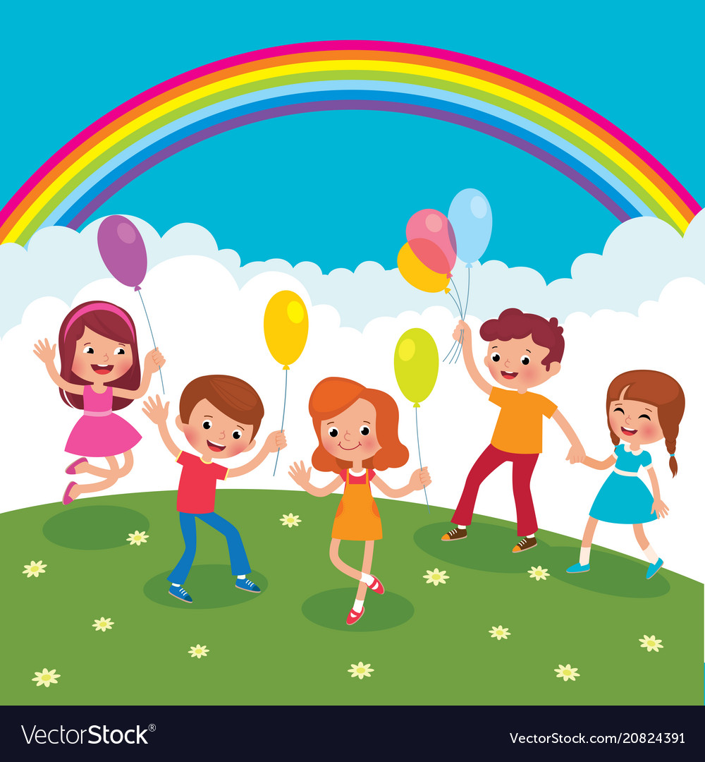 Group of cheerful children with balloons playing